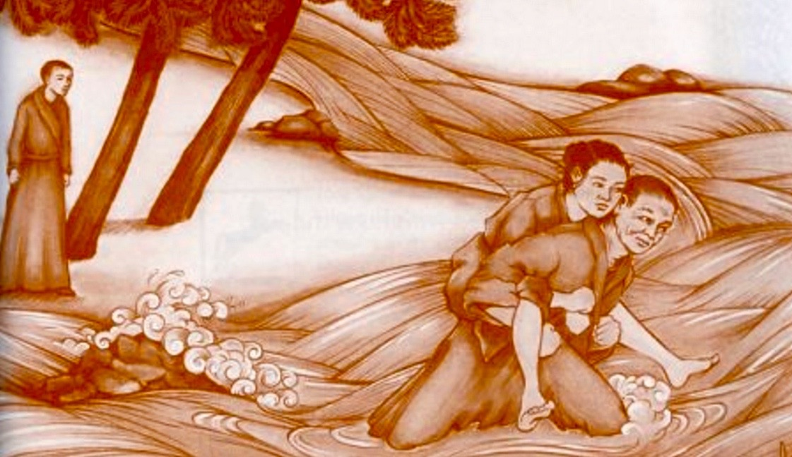 Monk carrying woman across river
